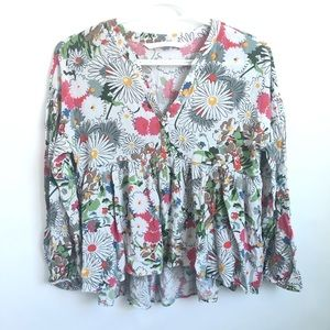 Zara Floral V-Neck Blouse